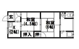 第2八ノ坪荘[206号室]の間取り