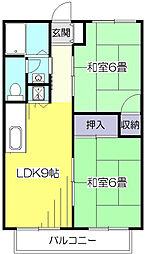 東京都東村山市諏訪町3丁目の賃貸アパートの間取り
