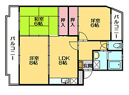 サンハイツKUDO[4階]の間取り