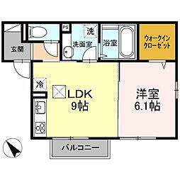 神奈川県高座郡寒川町一之宮1丁目の賃貸アパートの間取り