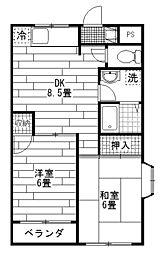 第5モリヤハイツ[1階]の間取り