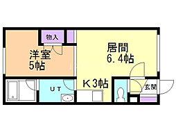 エリートMS 1階1DKの間取り