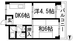 兵庫県西宮市段上町1丁目の賃貸マンションの間取り