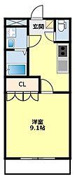 愛知県豊田市東新町1丁目の賃貸アパートの間取り