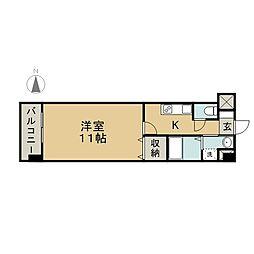 新町ASマンション 2階1Kの間取り
