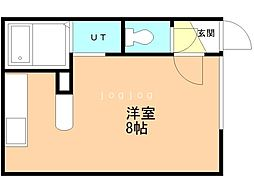 SAKURA(旧キャメロット) 1階ワンルームの間取り