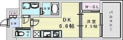 阪急宝塚本線 三国駅 徒歩5分の賃貸マンション 7階1DKの間取り