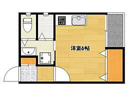 JR山陽本線 明石駅 徒歩7分の賃貸アパート 2階ワンルームの間取り