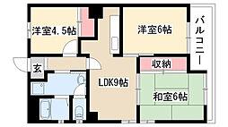 愛知県名古屋市緑区黒沢台4の賃貸マンションの間取り