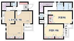 [テラスハウス] 愛知県名古屋市名東区本郷1丁目 の賃貸【/】の間取り