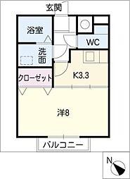 大留ハイツA棟[2階]の間取り