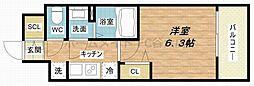プレサンス上町台筆ヶ崎NORTH 12階1Kの間取り
