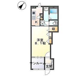 仮)阿見町阿見新築アパートB棟 1階1Kの間取り