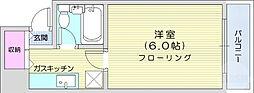 仙台市地下鉄東西線 川内駅 徒歩5分の賃貸マンション 5階1Kの間取り