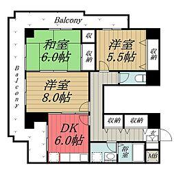 千葉県千葉市中央区市場町の賃貸マンションの間取り