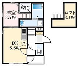 ハーモニーテラス中加賀屋 2階1DKの間取り