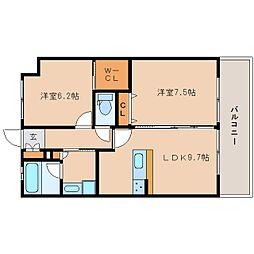 近鉄けいはんな線 学研奈良登美ヶ丘駅 徒歩4分の賃貸マンション 3階2LDKの間取り