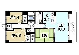 ネオハイツ桜井B[6階]の間取り