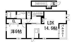 兵庫県宝塚市山本丸橋2丁目の賃貸アパートの間取り