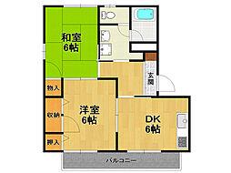 兵庫県伊丹市広畑2丁目の賃貸アパートの間取り