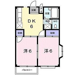 パールハイツB[1階]の間取り