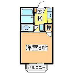 広島県東広島市西条中央1丁目の賃貸アパートの間取り