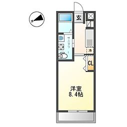 小田急小田原線 鶴巻温泉駅 徒歩5分の賃貸アパート 2階1Kの間取り
