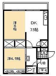 宮本アパート[403号室]の間取り