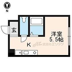 加賀山コーポ5 3階ワンルームの間取り