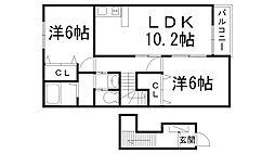 クラール東郷 2階2LDKの間取り