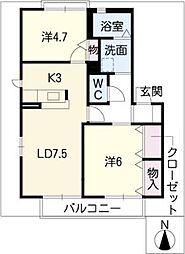 アイリスB棟[2階]の間取り