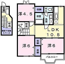 兵庫県姫路市広畑区蒲田 5丁目の賃貸アパートの間取り