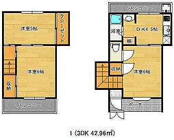 兵庫県神戸市中央区中山手通3丁目の賃貸アパートの間取り
