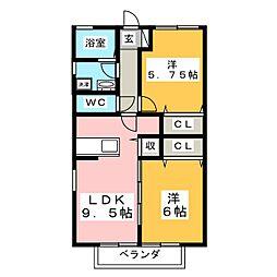 ハイツヴューB棟[2階]の間取り