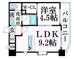 阪急神戸本線 春日野道駅 徒歩7分の賃貸マンション 6階1LDKの間取り