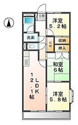 愛知県あま市新居屋辻畑の賃貸マンションの間取り
