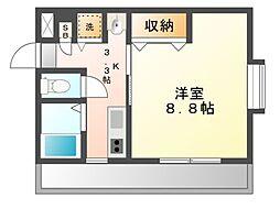 滋賀県大津市雄琴北1丁目の賃貸アパートの間取り