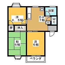 西坂ハイツB[2階]の間取り