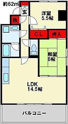 福岡県北九州市小倉北区若富士町の賃貸マンションの間取り