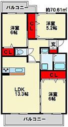 クレールコパンII[1階]の間取り