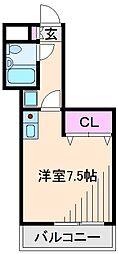 神奈川県横浜市港北区綱島西1丁目の賃貸マンションの間取り