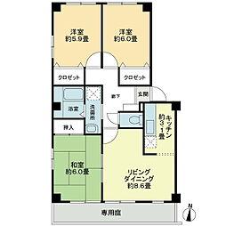 徳島県徳島市佐古二番町の賃貸アパートの間取り
