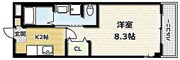 かぐや姫タワービル 7階1Kの間取り