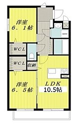 JR篠ノ井線 広丘駅 徒歩21分の賃貸マンション 4階2LDKの間取り