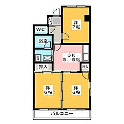 ながしまマンション[4階]の間取り