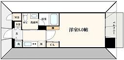 エスライズ北堀江スワン 2階1Kの間取り