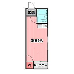 早苗清州プラザ 4階ワンルームの間取り