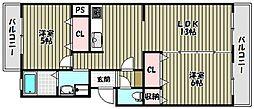 大阪府富田林市津々山台2丁目の賃貸マンションの間取り