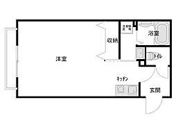 メゾンK&T 1階ワンルームの間取り