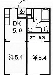 静岡県湖西市鷲津の賃貸アパートの間取り
